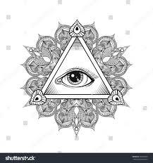 all seeing eye pyramid symbol tattoo stock illustration 366269900