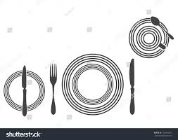 Proper Table Setting by Etiquette Proper Table Setting Silhouette Stock Vector