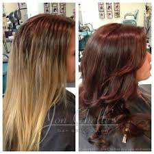 rich warm brown hair color with red undertones before and after