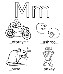 free alphabet coloring pages m words alphabet coloring pages of