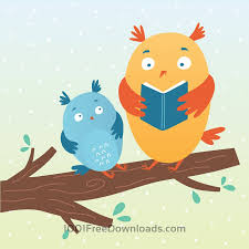 illustration of cute owls reading a book free vector vectorkh