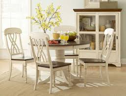 Cherry Wood Dining Room Set Ohana 1393w 48 5pcs Country White Cherry Wood Round Dining Table Set