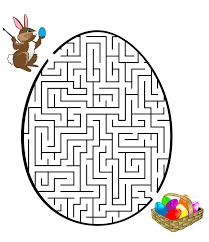 easter printable maze game for kids egg coloring pages