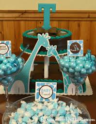 Safari Boy Baby Shower Ideas - decorate the dessert table with a turquoise and brown baby shower