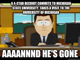 Michigan State Memes - a 4 star recruit commits to michigan state university takes a