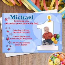 10 boys personalised first 1st birthday party photo invitations n19