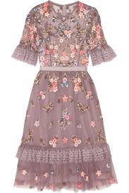 summer dresses for weddings wear this muted lavender hued needle thread embellished tulle