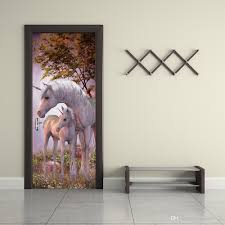 Shower Door Stickers by The Forest Unicorn Door Stickers 3d Pvc Self Adhesive Wallpaper