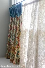 Gray Cafe Curtains Ruffled Ivory U0026 Gray Cafe Curtain Beyond The Screen Door Sh
