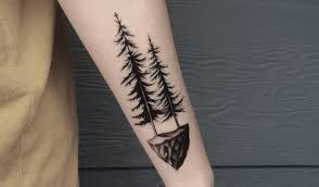 awesome black two pine tree on arm