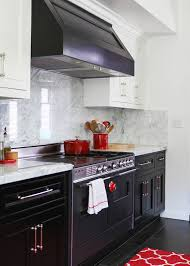 Red And Black Kitchen Cabinets White Top Cabinets Dark Bottom Cabinets Design Ideas