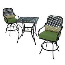 Hampton Bay Fall River 7 Piece Patio Dining Set - decorating black iron dining set with grey lowes patio cushions