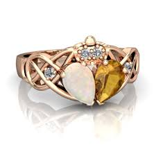 the claddagh ring opal and citrine two claddagh ring r5322 ropct