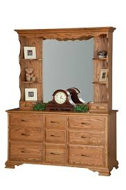 Bedroom Dresser With Mirror Amish 9 Drawer Dresser With Optional Hutch Top Mirror From