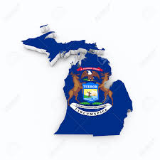 Map Of The State Of Michigan by Michigan State Flag Od 3d Map Stock Photo Picture And Royalty