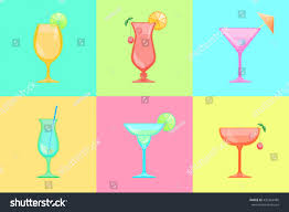 margarita glass cartoon set cocktail icons martini margarita saucer stock vector 439364485