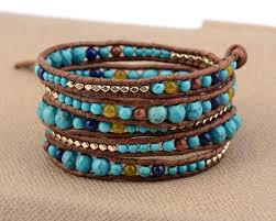 leather wrap bracelet with stones images Turquoise stone with leather gold beads bracelet chakras store jpg