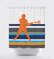 Grey And White Striped Shower Curtain Custom Striped Lacrosse Themed Shower Curtain For Boys U2013 Shop