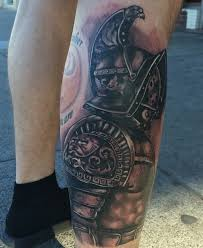 excellent detailed colored leg tattoo of ancient gladiator warrior