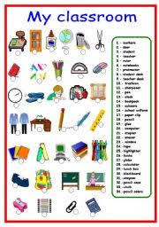 collection of solutions classroom objects worksheets pdf also job