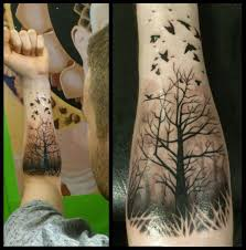 tattoos for guys on arm misty forest with ravens forearm piece best tattoo design ideas