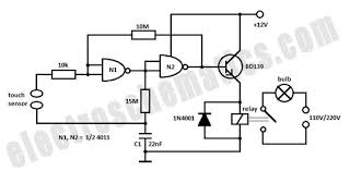 touch light switch schematic eletronic electric battery