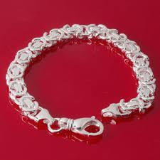 silver bracelet links images Byzantine mens sterling silver bracelet 9 6mm wide 4 5mm depth jpg
