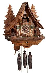 eight day musical chalet cuckoo clock with carved