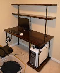 pipe desk with shelves elegant computer desk shelf chris industrial computer desk shelves