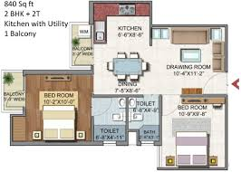 2bhk Plan For 500 Sq Ft 840 Sq Ft 2 Bhk 2t Apartment For Sale In Aditya Gzb Urban Homes