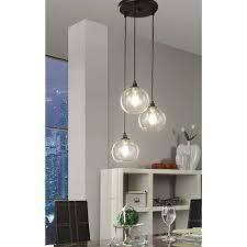 Three Light Kitchen Island Lighting Pendant Light 3 Light Cluster Black Clear Glass Dining Room