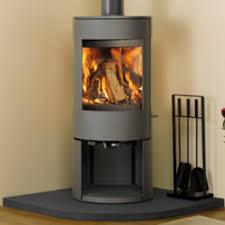 dovre astroline 3cb 10kw multi fuel stove on wood box mullen