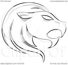 clipart of a sketched black and white astrology zodiac leo lion