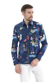 santa navy men long sleeve shirt