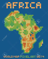 Africa Physical Map Pixel Art Style Illustration Of Africa Physical World Map Isolated