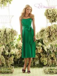 elegant strapless tea length sash emerald bridesmaid dress summer