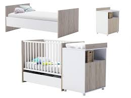 chambre bébé evolutive lit bébé évolutif romy 60x120 90x200 cm blanc rangements
