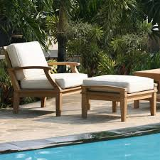 Deep Seating Patio St Barts Deep Seating Teak Outdoor Arm Chair And Ottoman With