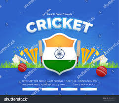 Cricket Flags Cricket Poster Vector Background Indian Flag Stock Vector