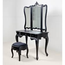 Antique Bedroom Vanity Black Wooden Vanity With Triple Drawers And Mirrors Having Black