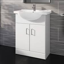 Quartz Gloss White Mm BuiltIn Floor Standing Basin Storage - Bathroom basin with cabinet