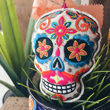 mexican day of the dead embroidered plush ornaments