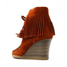 Brown Fringe Ankle Boots Womens Fringe Ankle Boots With Wedge Heel Leather Short Boots