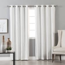 Gray And White Blackout Curtains Home Grommet Top Faux Silk Blackout Curtain Panel Pair