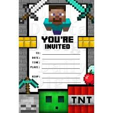 minecraft birthday invitations 27 images of minecraft birthday invitation card template leseriail