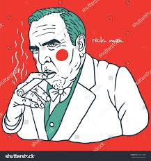 fat man suit cigar portrait clown stock vector 295213580