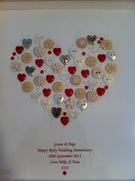 personalised quote gifts framed heart button artwork personalised for a ruby wedding