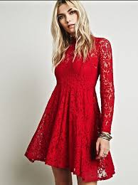 nwot 128 free people red lace dress fit u0026 flare long sleeve mock
