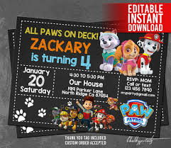 paw patrol invitation instant download paw patrol birthday