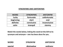 synonyms and antonyms table and worksheet by pauljamesnolan